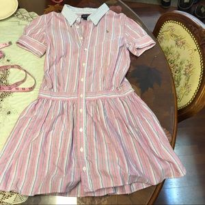 Ralph Lauren pink blue striped Oxford dres